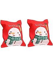 2pcs Cute Christmas Tissue Box Cover Cloth Tissue Paper Box Holder Xmas Desktop Decoration Ornaments (Snowman Pattern) Christmas Partry Supplies
