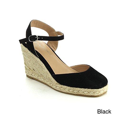 C LABEL ROLLIN-1 Women's Ankle Strap Sling Back Espadrille Wedge Sandal,BLACK,10