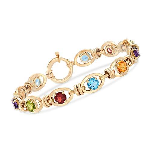 Ross-Simons 9.70 Ct. T.W Multi-Stone Link Bracelet in 14kt Yellow Gold -