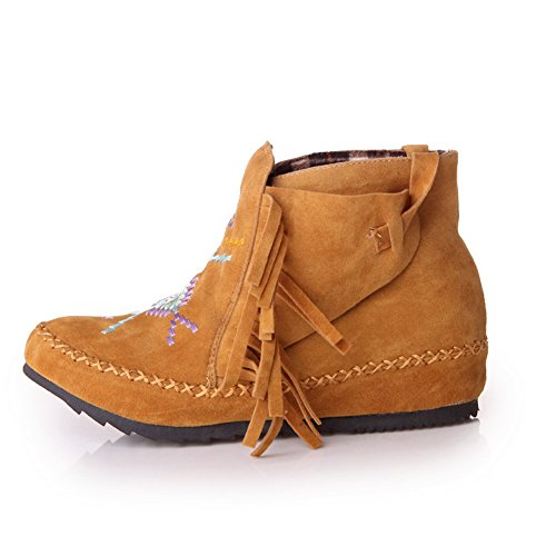 BalaMasa Girls Color Matching Thick Bottom Heel Tassels Heighten Inside Frosted Boots Yellow phGtpnuv3