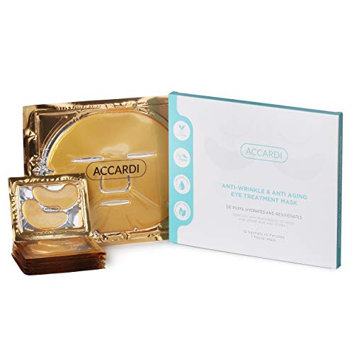 Under Eye Patches with Facial Mask by Accardi | Anti Wrinkle and Anti Aging | Vegan Depuffing, Hydrating and Rejuvenating Eye Pads With Collagen, Vitamin C and Natural Ingredients | 12 Sachets 1 Mask
