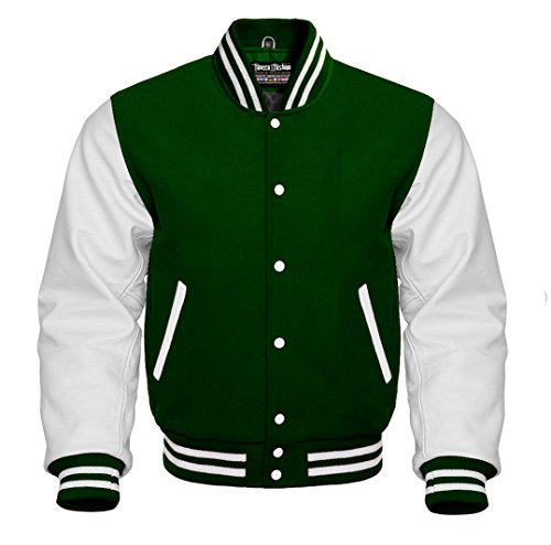 Varsity Forest Green Wool and Genuine White Leather Sleeves Letterman Baseball Jacket (M, Forest Green/White)