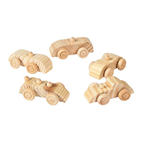 Fun Express Unfinished Wooden Cars (Set of 12 Toys) DIY Crafts