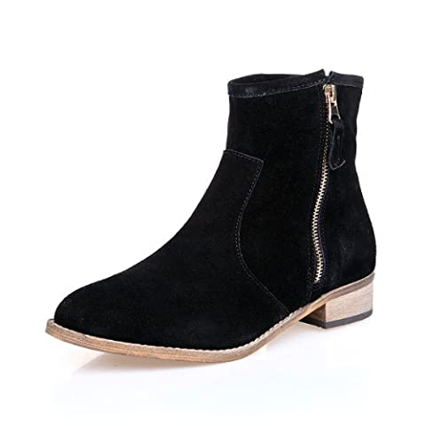 Alexis Leroy Women And Girls Quality Leather Classcial Style Ankle Boots Black Size (Camoscio Nero Stivaletti)