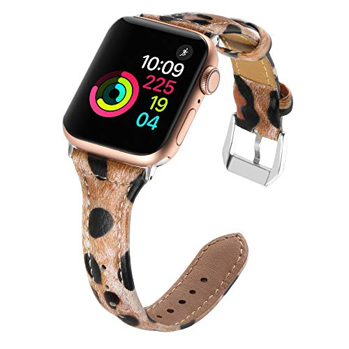 Simpeak Comapatible for iWatch Band 38mm 40mm, Genuine Leather Replacement iWatch Wristband Strap with Metal Buckle for iWatch Series 4 3 2 1 Sport and Edition, Slim Design for Women Men, Leopard