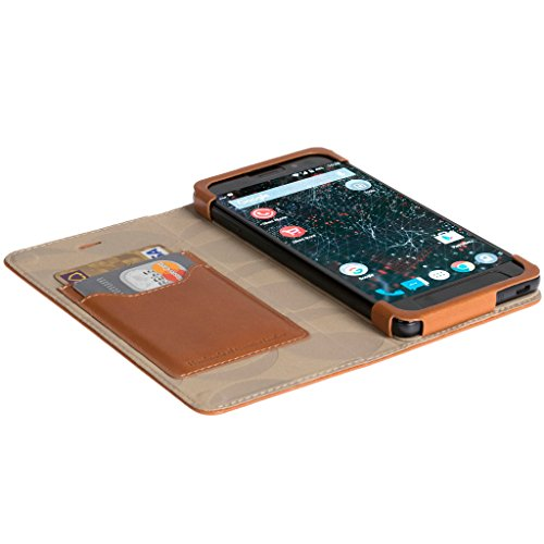 Official Krusell Kiruna Leather Flip Case for Silent Circle Blackphone 2 (Camel)