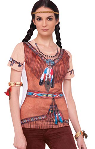 Forum Women's Native American Printed Shirt Adult Costume, Multi Colored, Medium