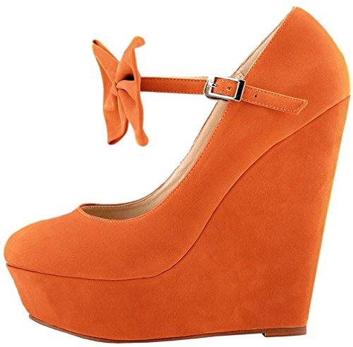 Calaier Boucle 14cm Caeverything Escarpins Compensé Orange Chaussures Femme SIwqrpxS
