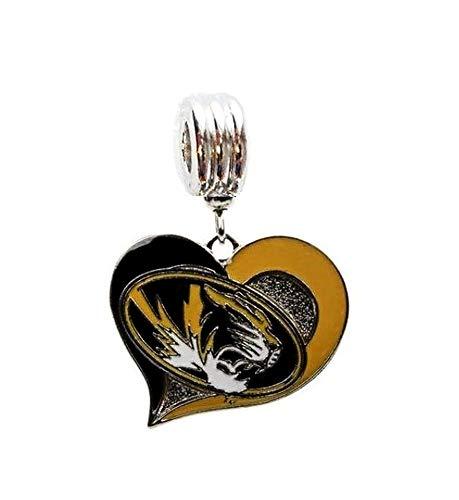Heavens Jewelry MU University of Missouri Tigers MISSOU Team Heart Charm Slider Pendant for Your Necklace European Charm Bracelet (Fits Most Name Brands) DIY Projects ETC