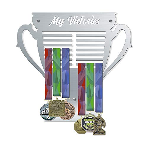 VICTORY HANGERS My Victories Trophy Style Medal Hanger   Wall Mounted Medal Holder   Displays Up to 80 Medals   Elegant Sports Wall Decals   Home Decor   Wall Decoration (V3) - Hockey Plaque Award