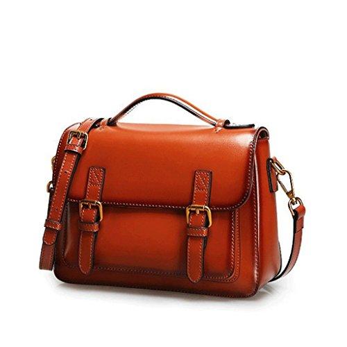 magnétique Femme Cuir Main Doux Sac DGF carré Messager Sac à bandoulière de Messenger Sac Brown Boucle Bag à Visage en PttBqpgxw
