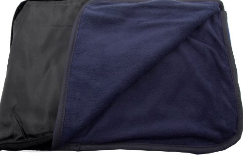 Fleece Nylon Blanket (Outdoor Sports Beach Travel Stadium Cushion + Bag + Pillow + Nylon Fleece Throw Blanket - Black/Navy)