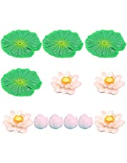 Balacoo 12pcs Lotus Miniature Garden Decor Fish Tank Flower Ornament Miniature Flower Fairy Garden for Dollhouse Aquarium Lotus Flower Decoration