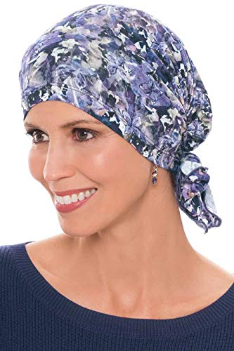 Cardani Easy On Pre Tied Head Scarf | Cancer Chemo Scarves Enchanted Garden - Blue ()