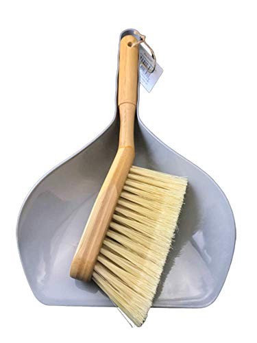 Natural Bamboo Brush and Gray Dustpan Set Ideal for Household Cleaning, Kitchen, Bathroom