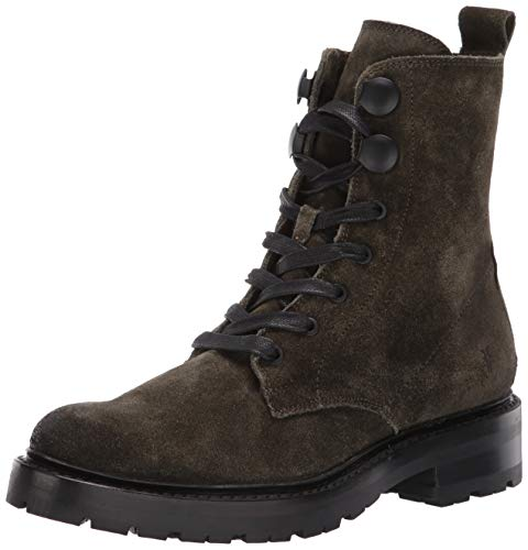 FRYE Women's Julie Hook Combat Boot, Forest Soft Oiled Suede, 7.5 M US