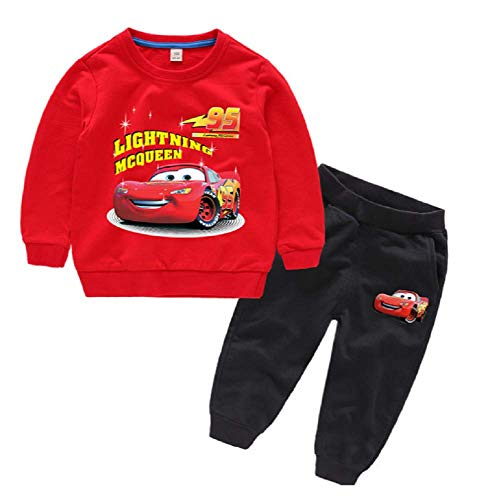 Boys Lightning McQueen Set-2 Pack of Lightning McQueen Clothing - Sweatershirts and Pants Set(Red, 7T) ()