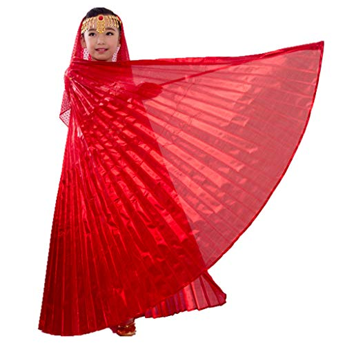 MUNAFIE Halloween Costumes Belly Dance Isis Wings for Children Kids (Wings with Sitck and Bag, Hot Red)