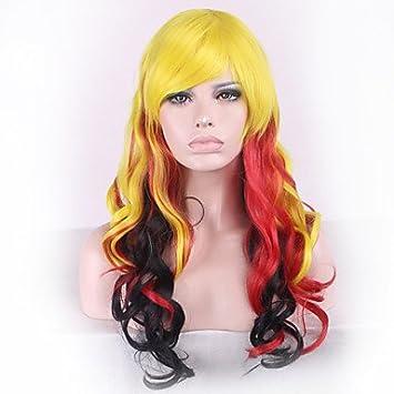 OOFAY JF® harajuku cosplay de anime está pendiente amarilla y roja inclinada liu Haichang pelucas