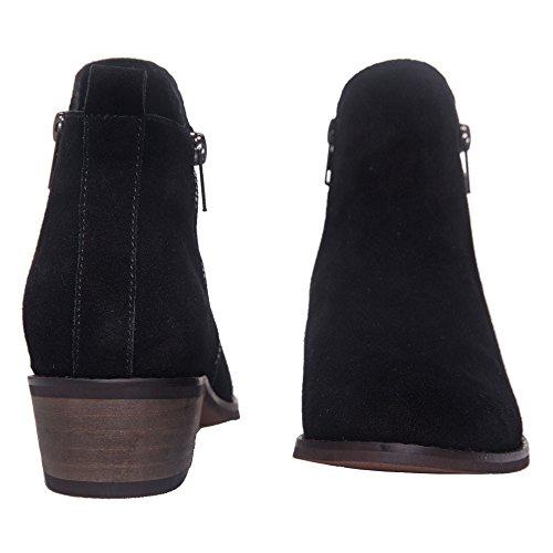 SheSole Damen Stiefeletten Leder Chelsea Boots Neu Schwarz
