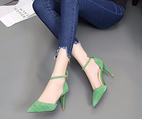 KHSKX Shoes The Sweet In High The Slotted Shoes Fall Shoes Tip With 9Cm New Satin Princess Lovely Hollow Single Green 38 Fine The Heeled Strap qWUxw8rzq4