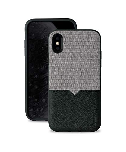 (Evutec Phone Case for iPhone Xs Max 6.5 inch, [Northill Series] Premium Leather + TPU Shockproof Interior Slim Protective Case-Canvas/Black (AFIX+ Magnetic Mount Included))