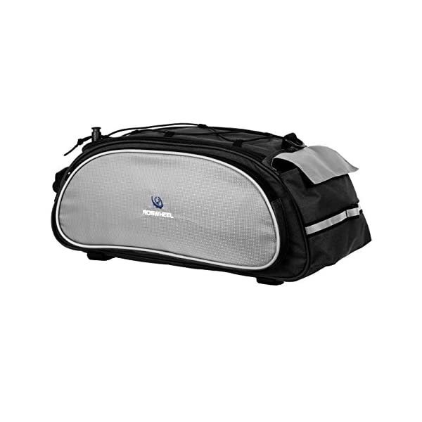ROSWHEEL 13L Bicycle Bike Cycling Saddle Back Seat Rack Bag Pouch with Elastic Strap on Top for Outdoor Riding Traveling Black - sports-and-outdoors