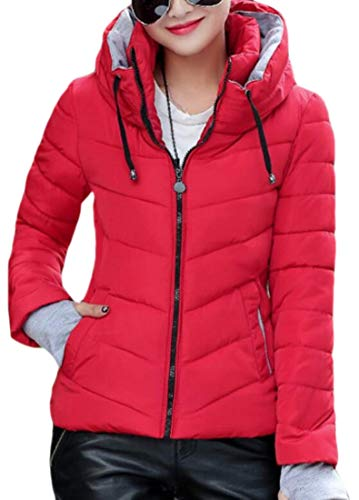 EKU Womens Lightweight Hooded Quilted Winter Puffer Outwear Down Coat Red