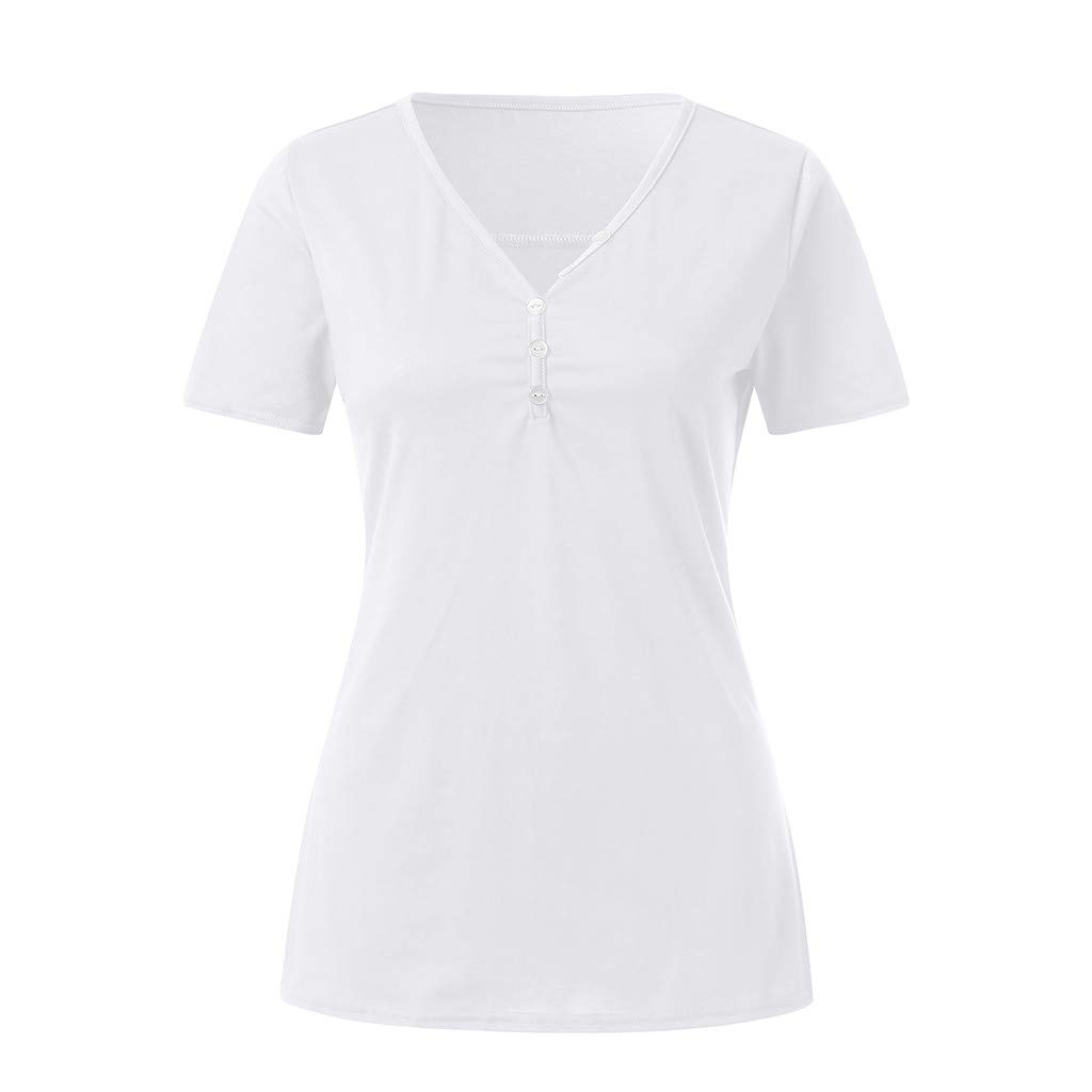 KYLEON Women Shirts Solid V-Neck Short Sleeve Button up Ladies Basic Casual Blouse Summer Tank Tunics Vest Camis Tops White by KYLEON (Image #2)