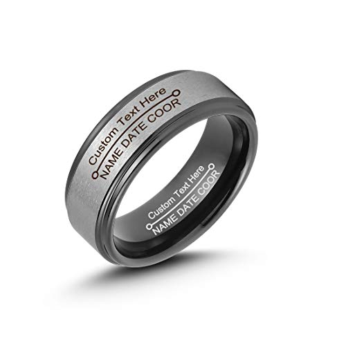 LerchPhi Free Custom Engraved Rings for Men Tungsten Carbide Black Band with Gunmetal Grey Coated Raised Satin Finish Step Edge