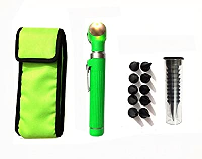 Fiber Optic Mini Otoscope Set - Medical Diagnostic Examination Set - Pocket Size - (GREEN)