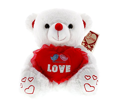 Mozlly Super Soft Plush White w/ LED Lights and Singing Teddy Bear - Love Me Tender by Elvis Presley w/ Gift Card 14 Inch Romantic Valentines Gift Huggable Critter Sweet Cuddle Toy - Item #161004 (Presley Elvis Bear)
