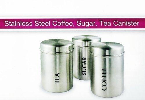 3 pc acero inoxidable juego de recipientes cilíndricos tarro de almacenaje con diseño de café y azúcar de cocina de botes de repuesto para 17154C Preema