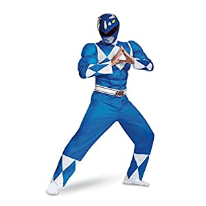 Disguise Mens Blue Ranger Classic Muscle Adult Costume