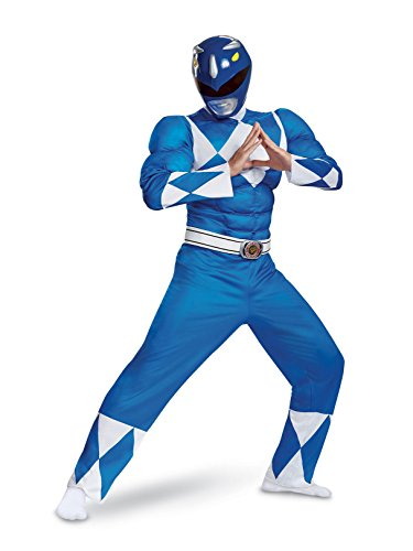 Disguise Men's Blue Ranger Classic Muscle Adult Costume, L/XL (42-46) (Blue Ranger Helmet)