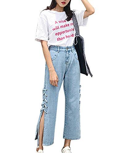 Bleu Push Pantalons Denim En Avec Jean Clair Haute Large Femme Up Taille Lacets Ourlet w1WnF67gFx