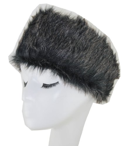 WIIPU Woman grey Faux Fur Elastic Head Band(N13) (black)