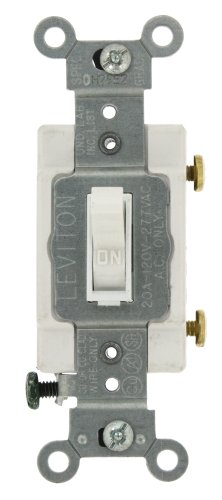 Amp, 120/277-Volt, Toggle Framed Single-Pole AC Quiet Switch, Commercial Grade, Grounding, White (Ac Quiet Toggle Switch)