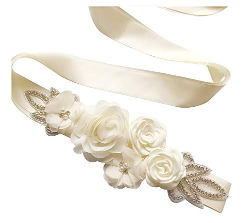 Sash Belt with Flowers Pearls Rhinestone for Wedding Bride/Baby Shower Dress,Ivory