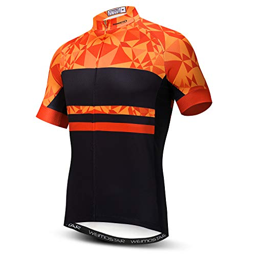 Weimostar Men's Cycling Jersey Short Sleeve Bike Shirt Riding Tops Outdoor MTB Bicycle Clothing Orange Black Size XL