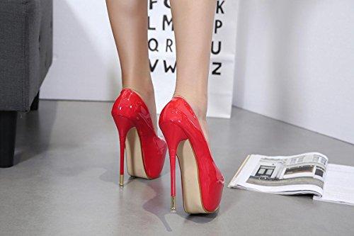 Señoras Mujer Nuevo Stiletto High Heel Sencilla Zapatos Ronda cabeza Boca Rasa Patente Bombas De Cuero Negro Otoño Primavera Nightclub Party Wedding Dressy Red