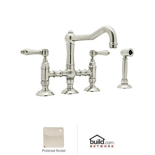 Rohl A1458LMWSPN-2 Country Kitchen Three Leg Bridge Faucet with Metal Levers Sidespray and 9-Inch Reach Column Spout, Polished Nickel by ()
