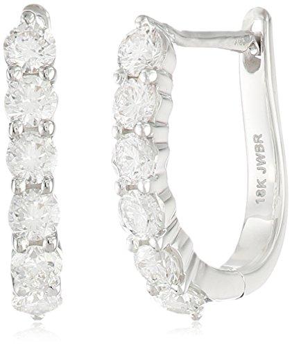 18k White Gold Diamond Hoop Earrings - 18k White Gold Round Diamond Hoop Earrings (3/4cttw)