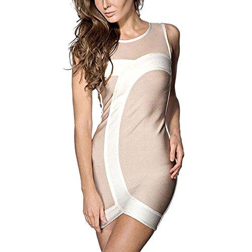 HLBandage Mesh Patchwork Sleeveless Mini Rayon Bandage Dress Multicolor
