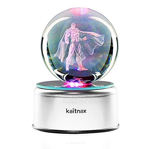 Superman Night Light - 3D Cool Laser Etching Crystal Ball Night Light Gift Lamp for Kids Children Christmas (Superman)