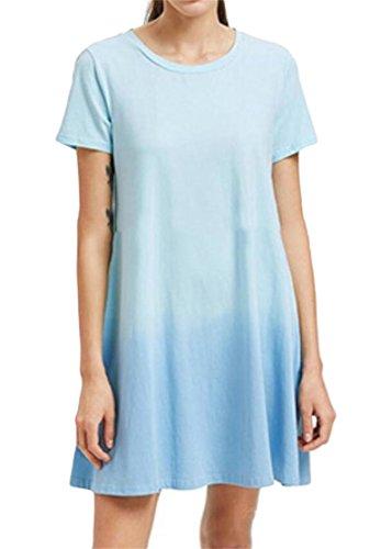 Women Sleeve Azure T Dress Crewneck Color Shirt Short Domple Gradient Loose wRFwq