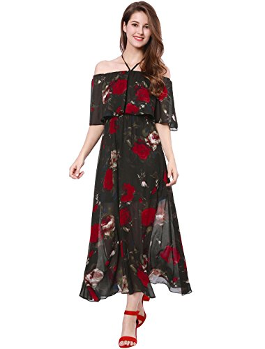 Allegra K Women's Off The Shoulder Split Hem Floral Maxi Dress M Black (Tiered Maxi Print Dress)