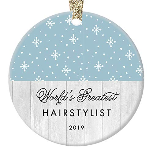 World's Greatest Hairstylist Ornament 2019, Hair Stylist Xmas Present for Hairdresser Barber Professional Winter Holiday Ceramic Porcelain Keepsake 3