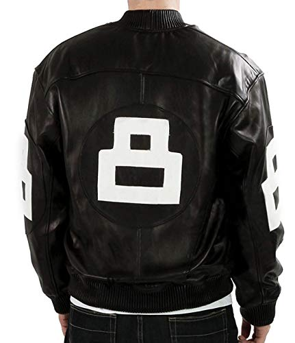 Mens 8 Logo Biker Varsity Letterman Bomber Black Faux Leather Jacket