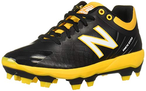 New Balance Men's 4040v5 Molded Baseball Shoe, Black/Yellow, 12 2E US